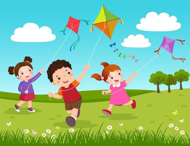 Illustratie van drie kinderen die vliegers in het park vliegen