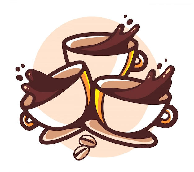 Illustratie van drie kopjes koffie met spatten op witte achtergrond.