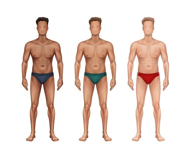 Illustratie van drie staande man in vooraanzicht met verschillende nationaliteiten en huidtypes en in ondergoed op witte achtergrond