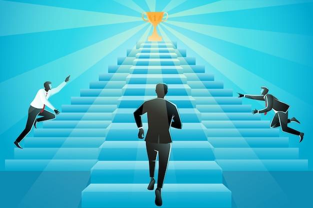 Illustratie van drie zakenman die treden naar succes oplost