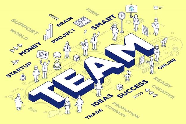 Illustratie van driedimensionaal woordteam met mensen en tags op gele achtergrond met regeling.