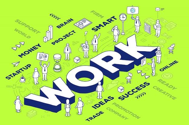 Illustratie van driedimensionaal woordwerk met mensen en labels op groene achtergrond met regeling.
