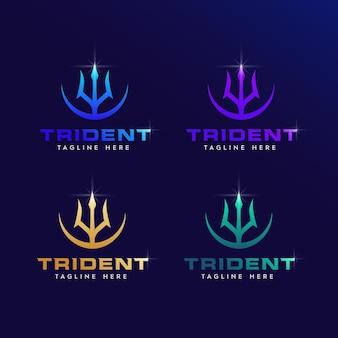 Illustratie van drietand logo-ontwerp met een vleugje moderne logo-ontwerpstijl