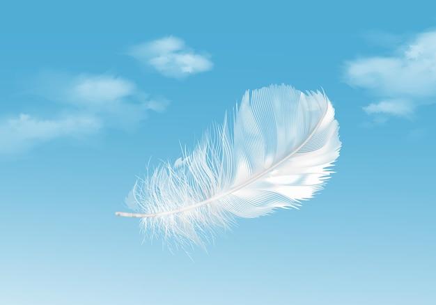 Illustratie van drijvende witte veer op blauwe hemelachtergrond