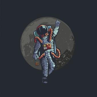 Illustratie van dronken astronaut tot ziens