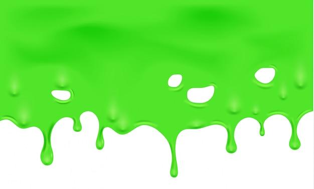 Illustratie van druipend groen slijm en gesmolten
