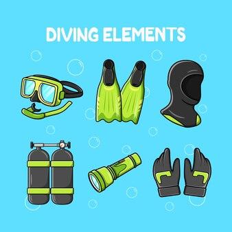 Illustratie van duikelementen premium vector