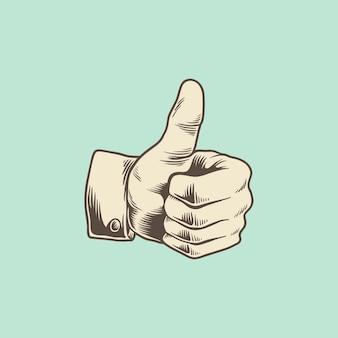 Illustratie van duimen op pictogram