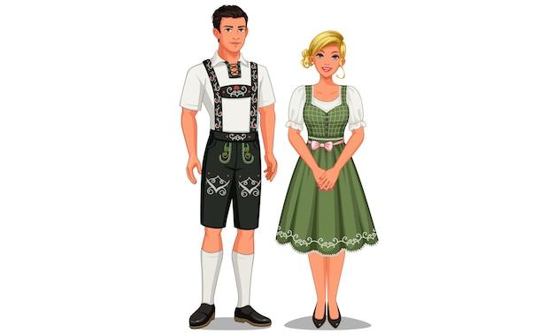 Illustratie van duitse echtpaar in hun traditionele klederdracht