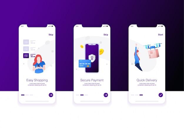 Illustratie van e-commerce stap gemakkelijk winkelen, beveiligde betaling en snelle levering