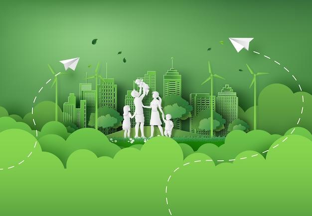 Illustratie van eco en wereldmilieudag met gelukkige familie. papieren kunststijl.