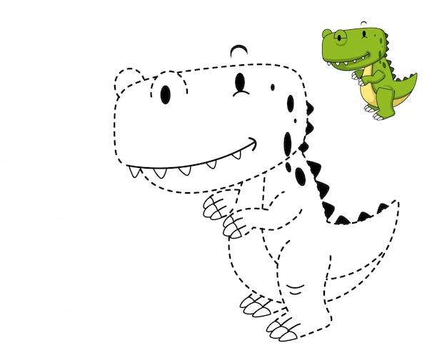 Illustratie van educatief spel en kleurende dinosaurus