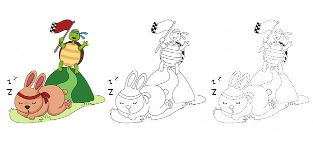 Illustratie van educatief spel voor kinderen en kleurboek