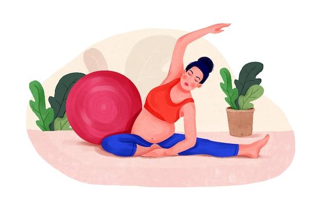 Illustratie van een aantrekkelijke zwangere vrouw die een rekoefening voor een zwangere vrouw uitoefent