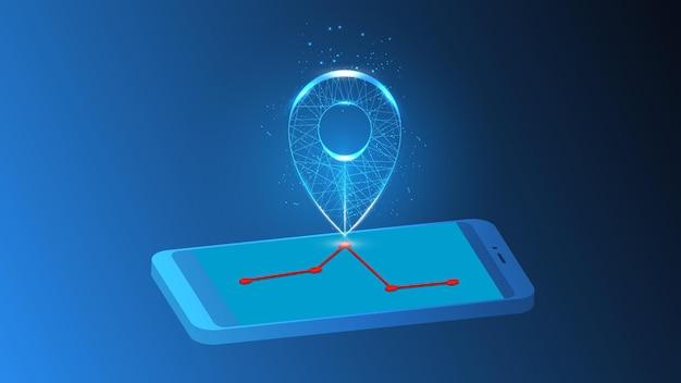 Illustratie van een abstracte lichtgevende markering op een wegroute op een mobiele telefoon.