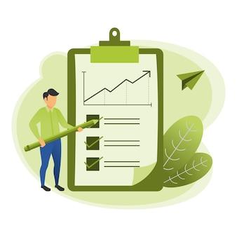 Illustratie van een accountant die het verkooprapport controleert dat een potlood met blad gebruikt