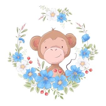 Illustratie van een afdruk voor de kinderkamer van de kinderen schattige aap in een krans van blauwe bloemen.