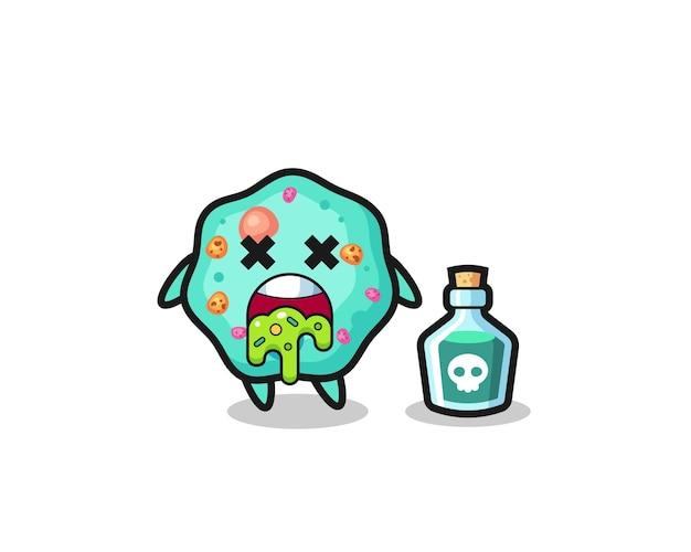 Illustratie van een amoebe-personage dat braakt als gevolg van vergiftiging, schattig stijlontwerp voor t-shirt, sticker, logo-element