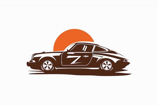 Illustratie van een auto met zonsondergangen in een vintage stijl