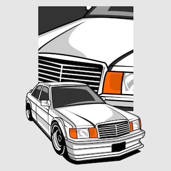 Illustratie van een auto Premium Vector