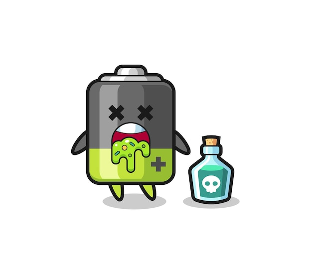 Illustratie van een batterijkarakter dat braakt als gevolg van vergiftiging, schattig stijlontwerp voor t-shirt, sticker, logo-element