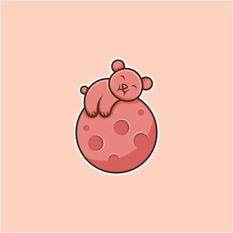 Illustratie van een beer die slaapt op een planeet in cartoonstijl