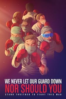 Illustratie van een bewustmakingsposter om gezondheidswerkers aan te moedigen die hun leven op het spel zetten tijdens de pandemiecrisis