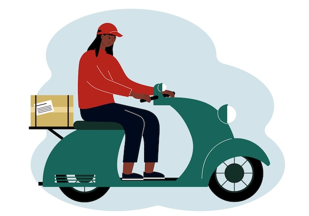 Illustratie van een bezorger van een vrouw die op een scooter rijdt met een doos