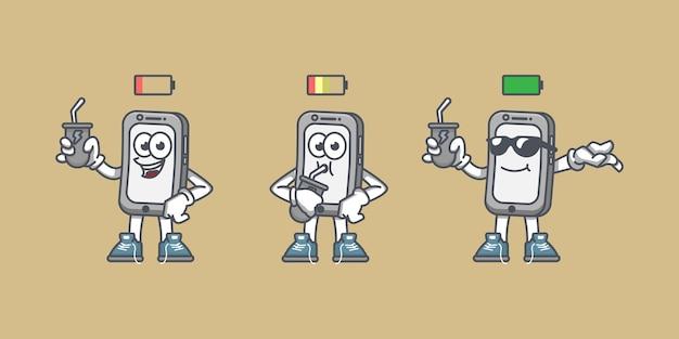 Illustratie van een bijna lege batterij van een mobiele telefoon in de oplader naar een volledig opgeladen batterij van een mobiele telefoon