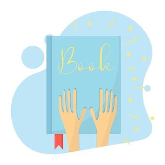 Illustratie van een blauw boek dat licht uitstraalt boek met bladwijzer in handen vlakke stijl