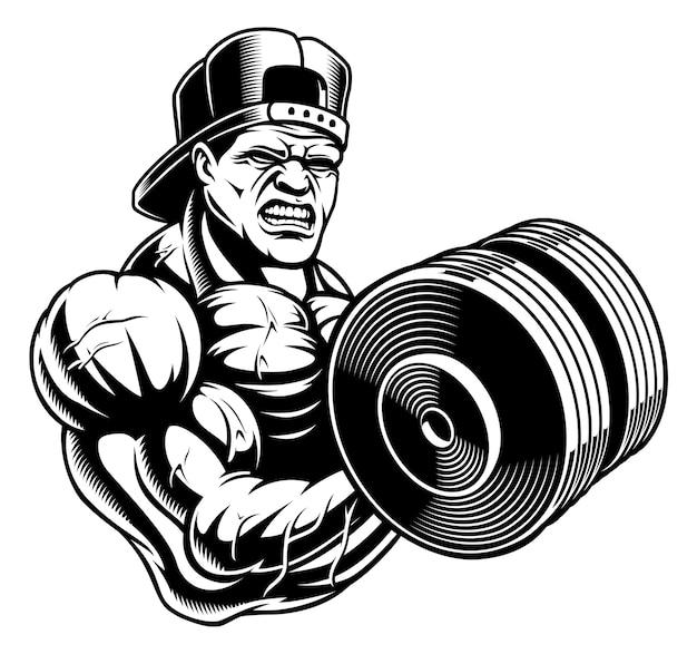 Illustratie van een bodybuilder met halter, op de witte achtergrond.