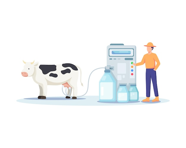 Illustratie van een boer die een koe melkt. modern en uitgekiend landbouwconcept, koeien melken met een melkmachine. man die een machine bedient, verse zuivelproducten. vectorillustratie in vlakke stijl
