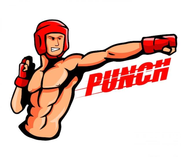 Illustratie van een bokser gooit een stoot.