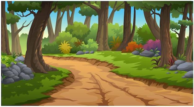 Illustratie van een boom en afbeelding van jungle