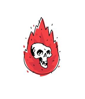 Illustratie van een brandende witte schedel