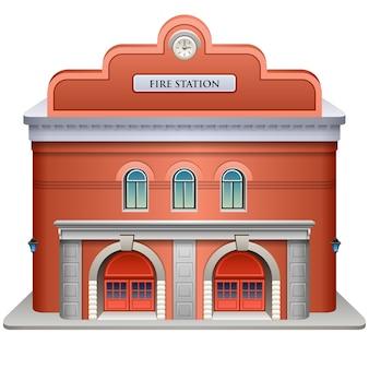 Illustratie van een brandweerkazerne op een witte achtergrond.