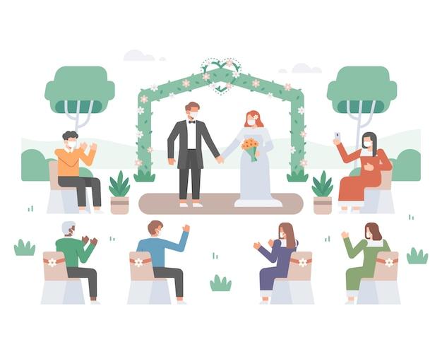 Illustratie van een bruiloftsfeest midden in de coronavirus-pandemie met knappe bruid en mooie bruidegom en gast die een gezichtsmasker dragen en sociale afstand nemen om virusoverdracht te voorkomen