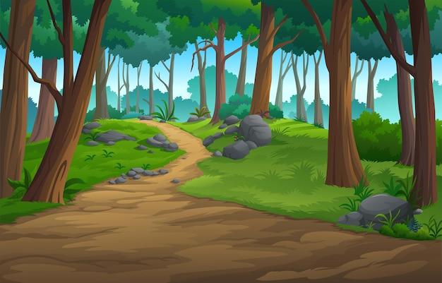 Illustratie van een buiten in de jungle en natuurlijk.