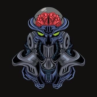 Illustratie van een buitenaardse robot of een buitenaards wezen met een hoofd dat zijn hersenen toont