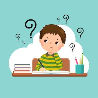 Illustratie van een cartoon benadrukt kleine jongen hard huiswerk op het bureau.