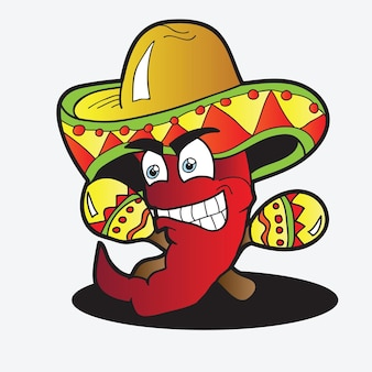 Illustratie van een chili character-peper met een paar maracas