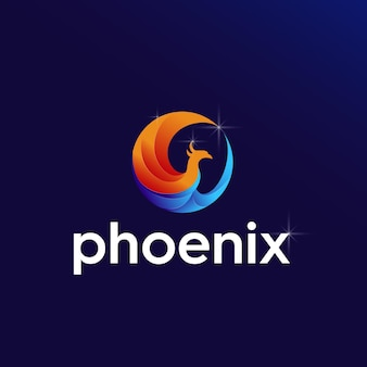 Illustratie van een circulair phoenix-ontwerplogo in een moderne stijl