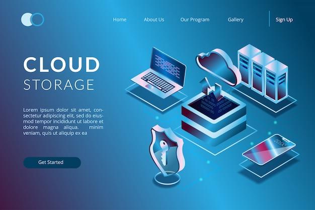 Illustratie van een cloudopslagsysteem verbonden met een apparaat, illustratie van op cloudopslag gebaseerde applicatie-ontwikkeling in isometrische 3d-afbeelding