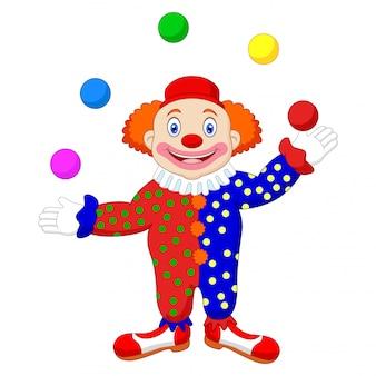 Illustratie van een clown die met ballen jongleert