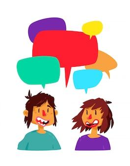 Illustratie van een communicerende kerel en een meisje