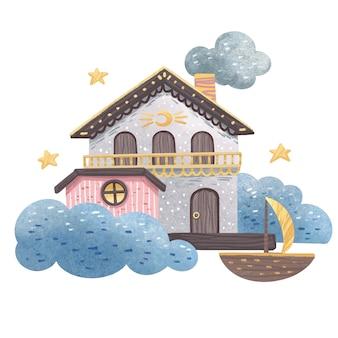 Illustratie van een droomhuis met wolken, sterren, de maan en een boot, voor kinderen om lekker te slapen