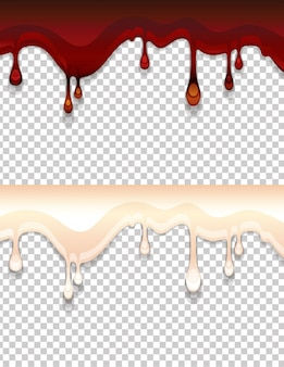 Illustratie van een druppel vloeibare zoete siroop. donkerbruine en melkachtige crème voor snoepjes geïsoleerd op transparant