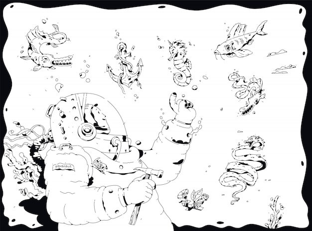 Illustratie van een duiker, aquanaut.