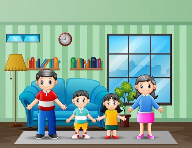 Illustratie van een familie in de woonkamer