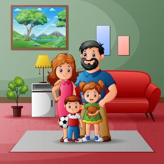 Illustratie van een familie in het huis